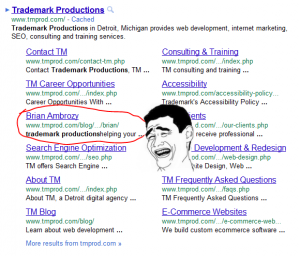 Trademark Productions sitelinks on Google