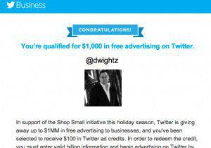 Twitter $1,000 Advertising Offer