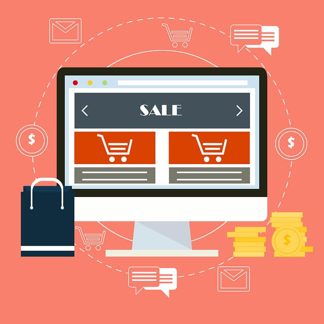 Graphic of computer emulating an ecommerce site