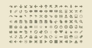Example of a variety of icons used for toggle buttons