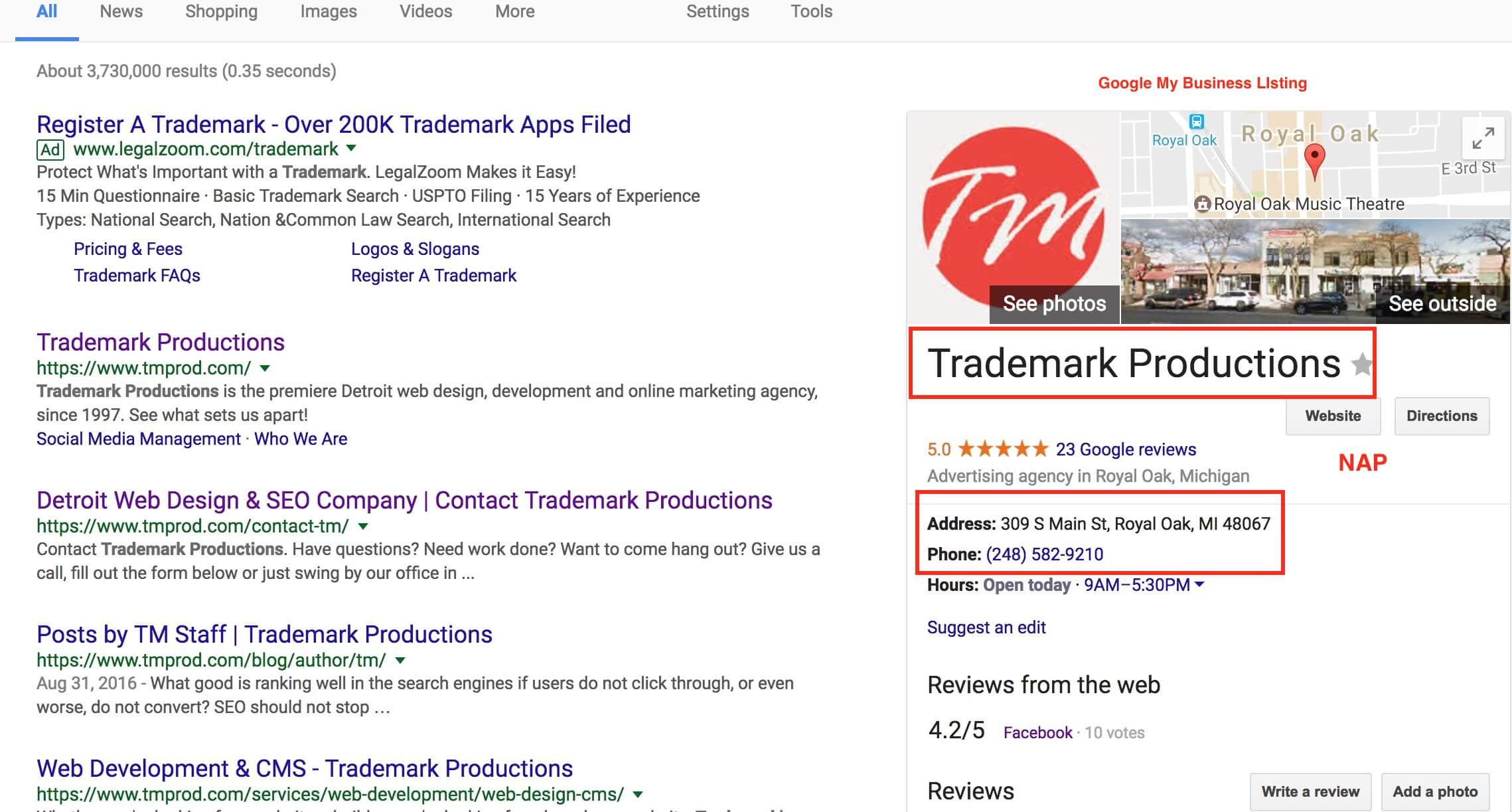 Trademark Productions' Google My Business Listing in Search
