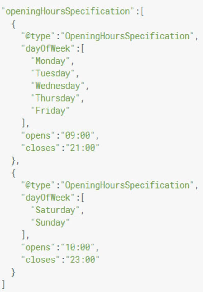 json markup of business hours