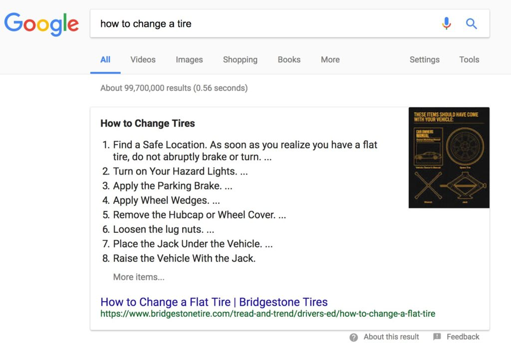 Example of rich snippet results in Search