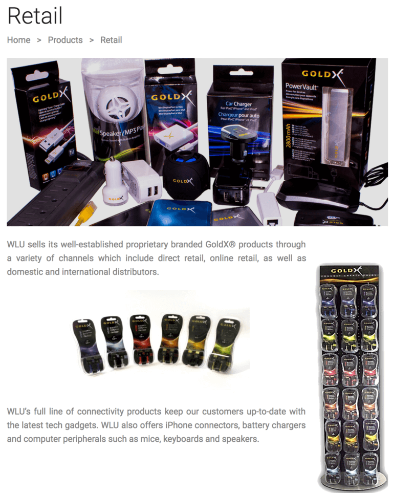 image of goldx retail products