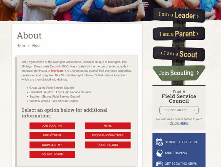 Case Study - Boy Scouts of American Michigan Crossroads Council - User Experience