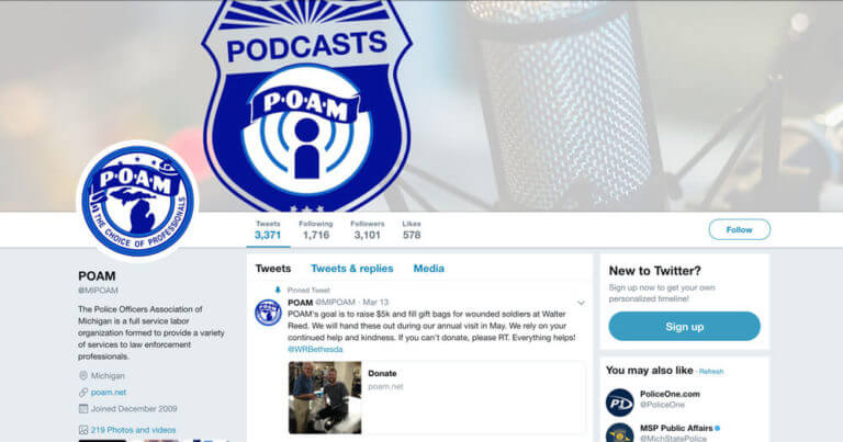 Screanshot of the POAM Twitter account