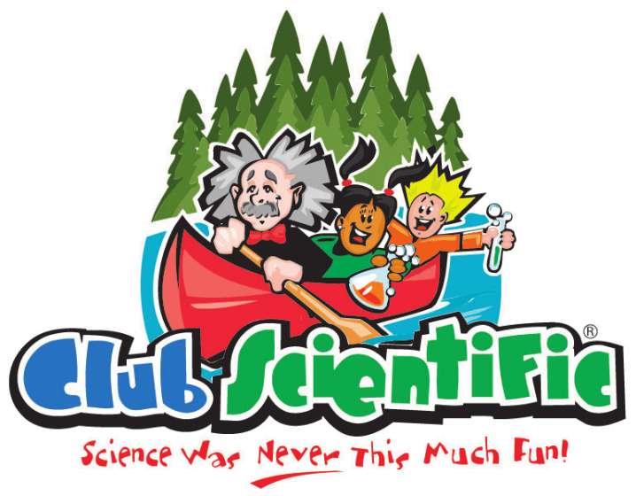 Club Scientific logo | Teacher and kids in boat with trees in the back
