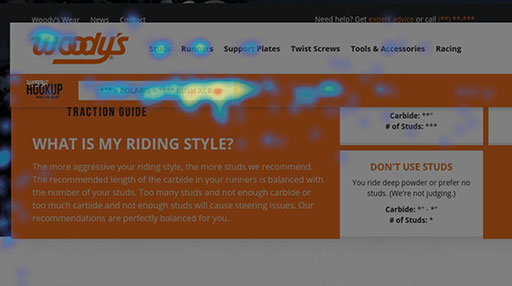 UI/UX Testing | Screenshot of a heat map on the Woody's Traction website.
