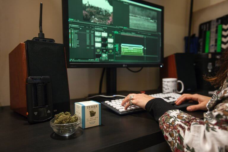 Marketing Marijuana Business in front of a computer