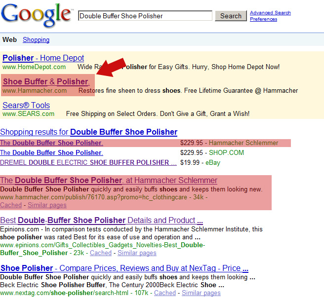 Hammacher Schlemmer Google AdWords Listing