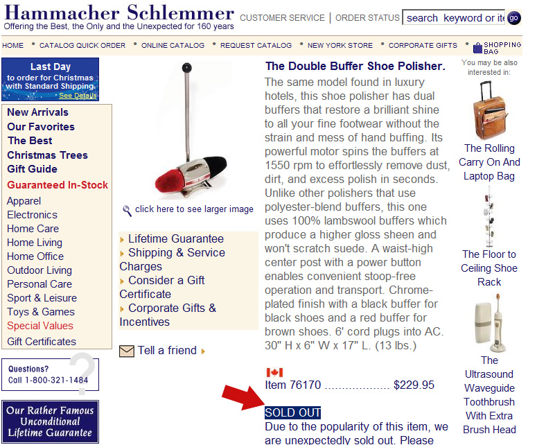 Hammacher Schlemmer Double Shoe Polisher Page